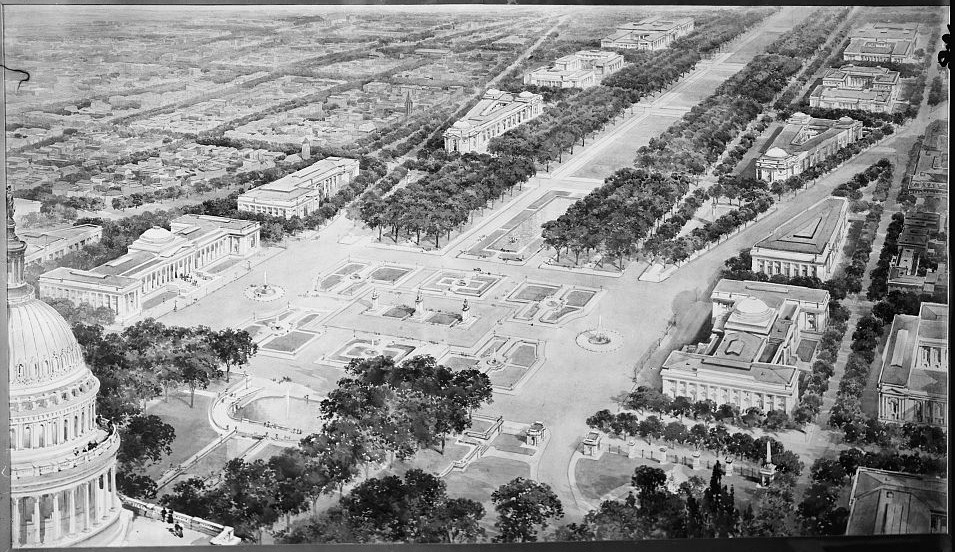 The proposed national mall 1901 mcmillan plan dc walkabout for Who designed the basic plan for washington dc