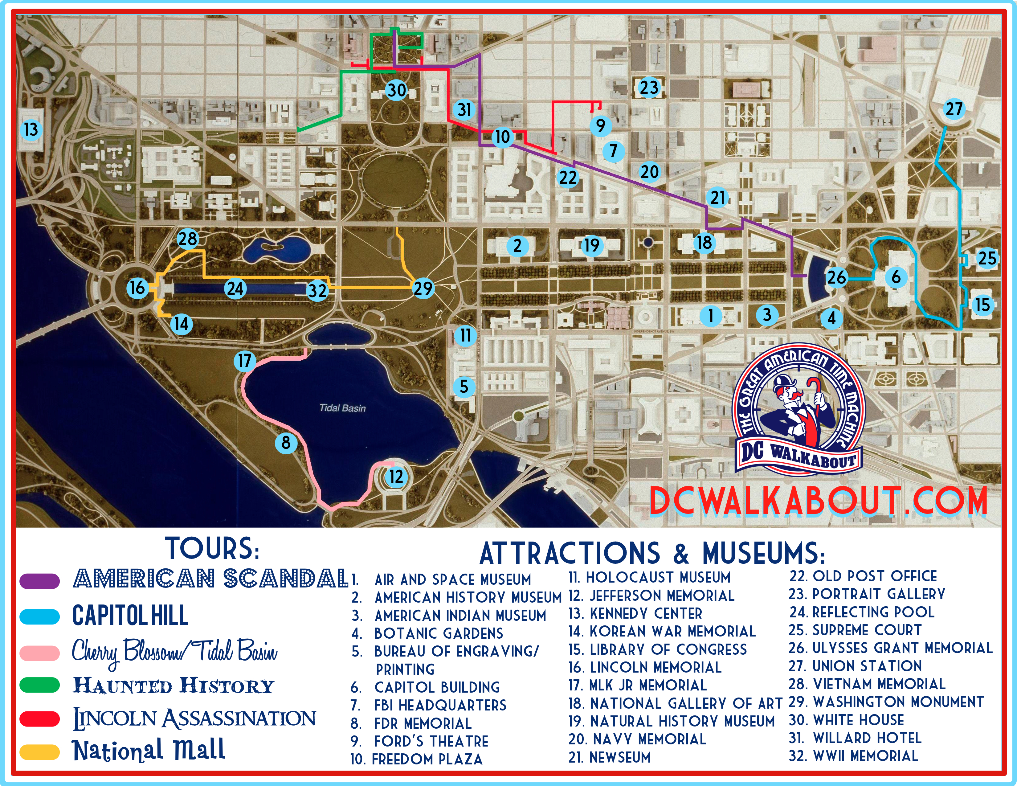 Washington DC Tourist Map | Tours & Attractions | DC Walkabout